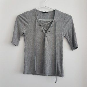 (2for$10) Topshop Lace Up Ribbed Grey Shirt Top